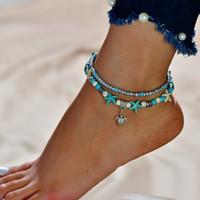Concha grano Yoga tobillera tortuga pulsera playa colgante estrella de mar perla Retro tortuga tobillera
