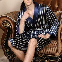 Весна лето тонкие Мужские пижамы в полоску с длинными рукавами пижамы ночной халат халат мужской шелковый атлас кимоно халат пижамы CX200622