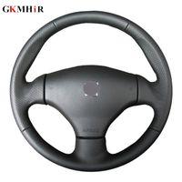 Сделай сам Искусственная кожа рулевого покрытия Ручная вышивка Черная крышка рулевого колеса автомобиля для 206CC 2005 206 2003