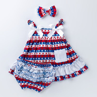 4th July 3PCS Newborn Baby Girls Clothes Dress Headband Bloo...