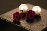 style de mode nouveau gros ins chaud design de luxe à double perle fleur de camélia face élégantes boucles d'oreilles pour femme rouge bleu violet