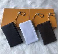 Hot Sale Com Orange Box chave do malote de couro real Famous Classical Designer Titular Mulheres Key Coin Purse pequeno couro preto Produtos Bag