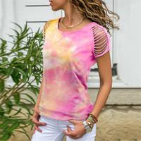 Femmes d'été Tie Dyed T-shirts manches courtes trou Gradient Femme T-shirts ras du cou Casual Hauts pour femmes droites