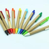 프로모션 학생 볼펜 펜 에코 - 친화적 인 종이 볼펜 사용자 정의 로고 학교 용품 편지지 플라스틱 클립 펜 DH1334