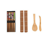 Kit de fabricación de sushi de bambú de bricolaje 2 pares de 5 colchonetas enrollables Separador de cola de arroz Herramientas de cocina Gadgets Dining Home Shop