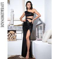 LoveLemonade Sexy Black Cut Out Um Ombro Vestido Maxi LM81697
