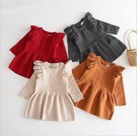 Vestidos de las muchachas del niño de punto vestido del suéter del algodón del bebé de la princesa Vestidos de punto para bebé recién nacido de Navidad Tops Camisas Ropa Boutique C6110