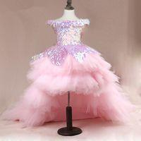 Rosa Paillette High Low Girls Pageant Kleider von der Schulter Tüll Ballkleid Tiered Lace-Up Zurück Rüschen Rock Puffy Blume Mädchen Kleid