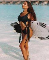 популярный женский купальник леопардовая пряжка ремня в одном костюме девушка дамы якуда гибкие стильные бикини набор сексуальный полый стальной круг бахрома
