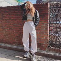 Beyaz Casual Pantolon Kadınlar 2020 Streetwear Ins Yüksek Bel Sweatpants Öğrenci Moda İlkbahar Pantalon Femme Asya Boyut