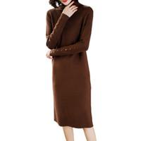 المرأة البلوزات المرأة محبوك اللباس الخريف عالية طوق فوق الركبة البلوز الربيع أنيق قاع سترة متوسطة طويلة متماسكة LJ194