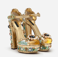 2021 Дамы Алмазные Жемчужные Вышивки 14см Коренастые Сандалии на высоком каблуке 3 см Флассформ Открытый Peep-Toes Европейская Американская Обувь Дворец Синий 35-43