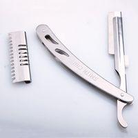 Sharp Durable cuchillo de corte de pelo de los hombres de plata manual de afeitar maquinillas de afeitar de acero inoxidable Profesional Unisex portátil Razor DH0849