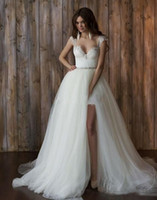 2020 New Short Full Lace Wedding Dresses With Detachable Ski...
