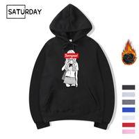Kış Erkek Senpai Anime Kız Tasarım Baskı Fleece Hoodies Sweatshirt Sonbahar Unisex Komik Siyah Hoody Man Kışlıklar