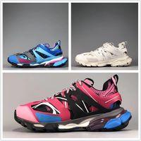 Triple s 3.0 جديد اللون الوردي الأزرق الأبيض tess s الرجال النساء clunky حذاء رياضة عارضة الأحذية أزياء أبي حذاء مع حقيبة الغبار