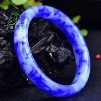 Xinjiang Hotan gobi jade Bracelet Bleu et Bijoux Fleur Bracelet Blanc Porcelaine Femmes