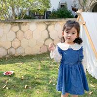 Arbeiten Sie neue Mädchen Denim-Kleid 2020 Frühlingskinder Quaste Hülse jean Kleidkinder Cowboy Straps Plisseekleid A1848 falbala fliegen