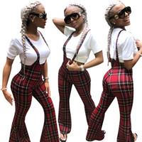 Moda a cuadros rojos impresos mujeres de pierna ancha pantalones largos en general 2019 más nuevo sexy correas sin mangas ocasional Club mono trajes trajes Real Imag