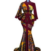 Africano Wax imprimir duas Piece Set Bazin Riche elegante Cortar africano tradicional roupa Dashiki top e saia Define WY3792