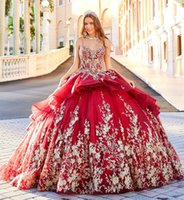 2020 Luxury Red Quinceanera Dresses Appliques Spaghetti Lace...