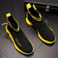 New Graffiti Street Fashion Punk Scarpe uomo hip-hop giallo nero alte scarpe casual 2019 scarpe da skateboard zapatos hombre