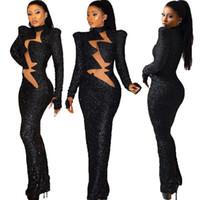 Женщины Новой осени зима Сплошного цвета платье Sequined Водолазка с длинным рукавом длина до пола платье Straight Лоскутного Mesh Sexy Maxi Clothings