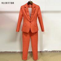 High Quality Runway Designer Pants Suit Women's Vintage Plaid Floral Print Office Lady Blazer Coat Female Trouser Two Piece Set