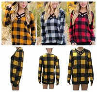 Women' s Plaid Blouse Shirt V Neck plaid pullover Casual...