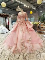 Romantische muslim Abendkleider Vintage High-Ausschnitt Langarm SpitzeApplique Prinzessin prom Kleid des neuen Entwurfs-Brautkleider Vestidos De Festa