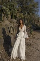 ASAF DADUSH A LINE Brautkleider V-Ausschnitt Spitze Brautkleider Backless Robe de Land Boho Bridal Kleid H018