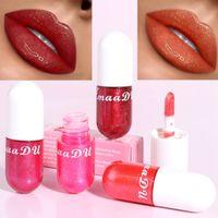 CmaaDu 새로운 립스틱 인어 립 글로스 빛나는 다이아몬드 립스틱 펄 모이스춰 라이징 3D 크리스탈 젤리 립 메이크업