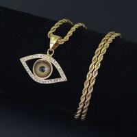 hip hop Devil's eye collane ciondolo per uomo donna diamanti malocchio lusso collana acciaio inox catene cubane gioielli retrò