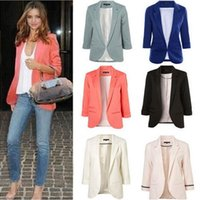 2019 Women Candy Colors Stylish small Suit 3 4 Sleeve Jacket...