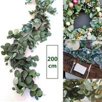 Fleurs décoratives artificielles l'eucalyptus saule feuilles de guirlande vigne verdure verdure maison décor de la maison extérieur fête extérieur feuille feuille feuille décoration