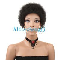 El pelo corto y rizado afro humano pelucas hecho a máquina sexuales pelucas brasileñas del pelo rizado para las mujeres negras