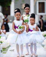 Nouveau Mignon Fleur Filles Robes Pour Weddding Jewel Staion Tulle Avec Pourpre Arc Tutu Thé Longueur Bouffie Princesse Robes De Bal Sur Mesure