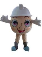 2019年工場ホットAdullのための白い帽子が付いている卵マスコットの衣装