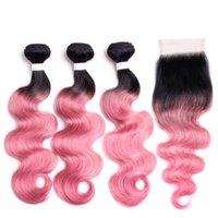 Silanda Hair Ombre 컬러 염색 #t 1b / 로즈 핑크 바디 웨이브 레미 인간의 머리카락 짜기 묶음 4x4 레이스 클로저 무료 배송