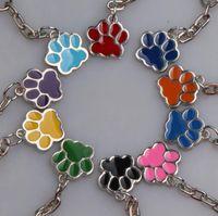 20pcs Moda Yeni Takı Sır Emaye Köpek Paw Prints Antik Gümüş Anahtarlık Anahtarlık Keyfob Cüzdan Messenger Çanta Sırt Çantası Anahtarlık
