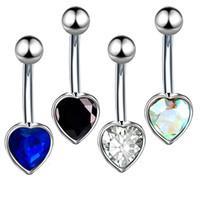 السرة حلق البطن ثقب الفولاذ المقاوم للصدأ الماس السرة عصابة مسمار السرة مجوهرات متعدد الألوان القلب نمط ثقب الجسم