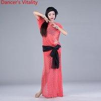 Professionnel Costumes de Danse Du Ventre Dentelle Ensemble De Danse Du Ventre 3 pcs Hearddress+robe+écharpe pour les femmes Salle De Bal Costume pour les filles