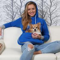Кенгуру Собака Кошка с капюшоном Пуловер с большим карманом женщин мультфильм Multifuncation Sweatershirts с уха Cuddle Чехол для животных с капюшоном