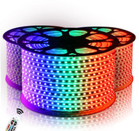 Tiras de LED 110V / 220V High Voltage SMD 5050 RGB Led Tiras Luzes Waterproof + IR Remote Control + Alimentação