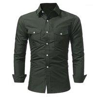 Топы с длинными рукавами футболки мужские 19ss Весна повседневные рубашки карманы дизайнер однобортный
