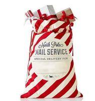 Zarf Noel Hediyesi Çanta Kırmızı Çizgili Noel Çanta Kanvas Santa Çuval İpli Çanta Kanvas Şeker Çanta Noel Süsleri YENİ GGA2771