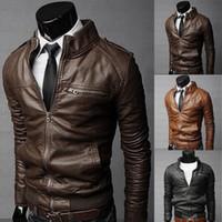 Enfriar los hombres cazadoras invierno de los hombres chaqueta de cuello Slim Fit motocicleta chaqueta de cuero Outwear streetwear