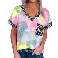 Брожащиеся трикотажные майки градиент цвет лоскутное женщина футболки повседневная V-образным вырезом пуловер блузка леопард печатанный футболка женские летние топы Tees Mujer