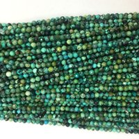 """天然本物の青緑色ターコイズされた小さい丸い緩いビーズ2mm 3mm 15.5 """"06105"""