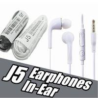 J5 más barata para auriculares estéreo de 3,5 mm en la oreja plana fideos auriculares auriculares con micrófono y control remoto para Samsung Galaxy S3 S4 S5 S6 Nota 2 3